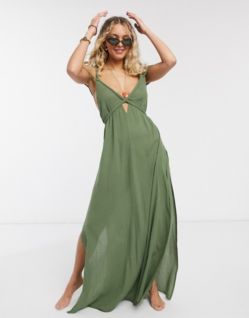 エイソス レディース ワンピース トップス ASOS DESIGN braid maxi beach dress in textured khaki Khaki