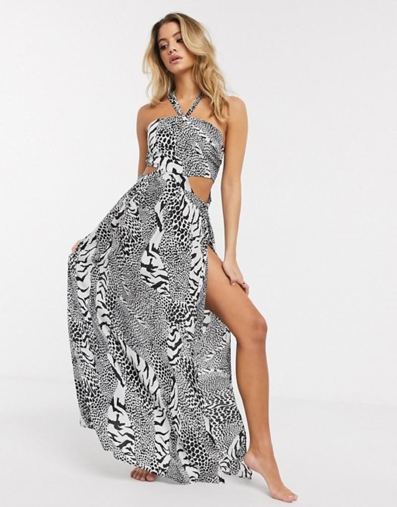 エイソス レディース ワンピース トップス ASOS DESIGN halter cut out side maxi beach dress in mono animal print Mono animal
