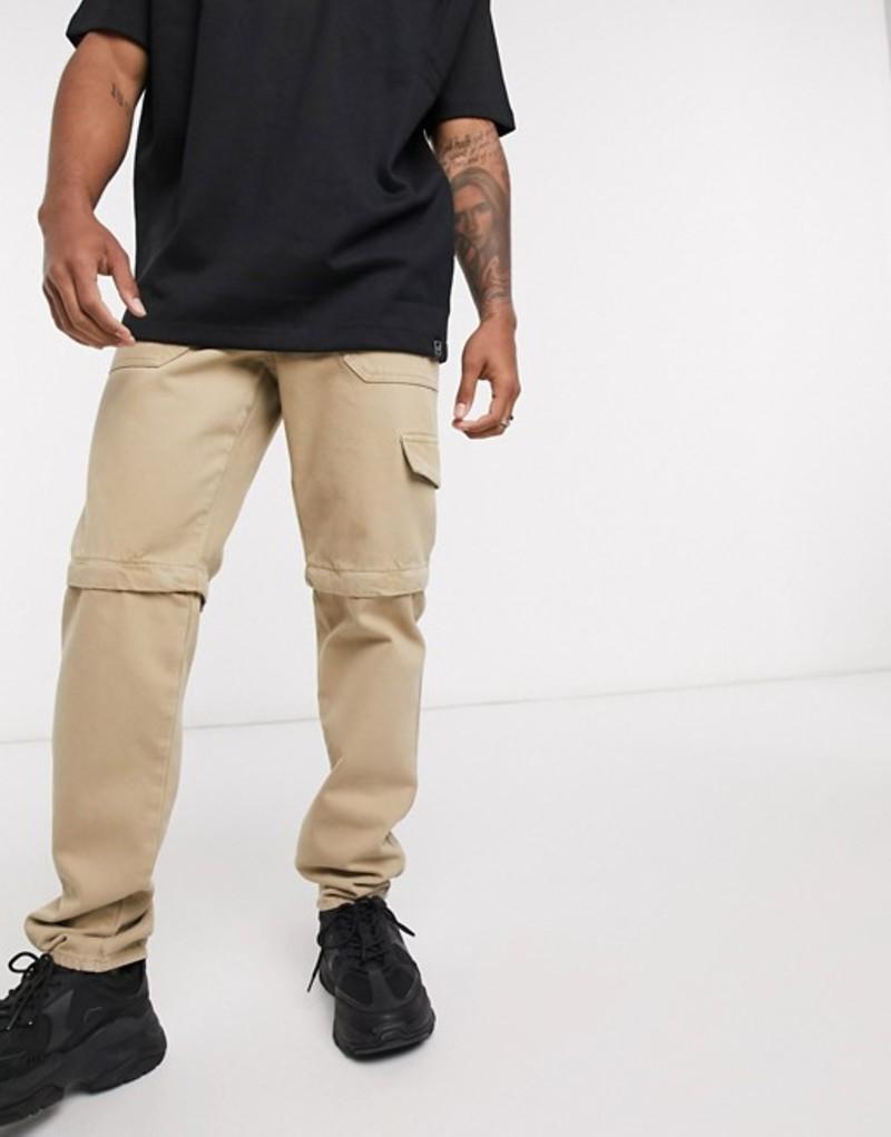 エイソス メンズ デニムパンツ ボトムス ASOS DESIGN rigid slim jeans in stone with zip off details Stone