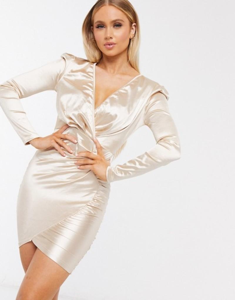アックスパリ レディース ワンピース トップス AX Paris long sleeve wrap satin mini dress in beige Champagne