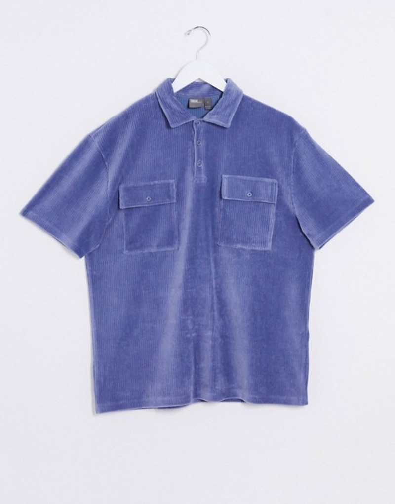 エイソス メンズ シャツ トップス ASOS DESIGN relaxed polo shirt in blue ribbed velour with pocket detail Blue