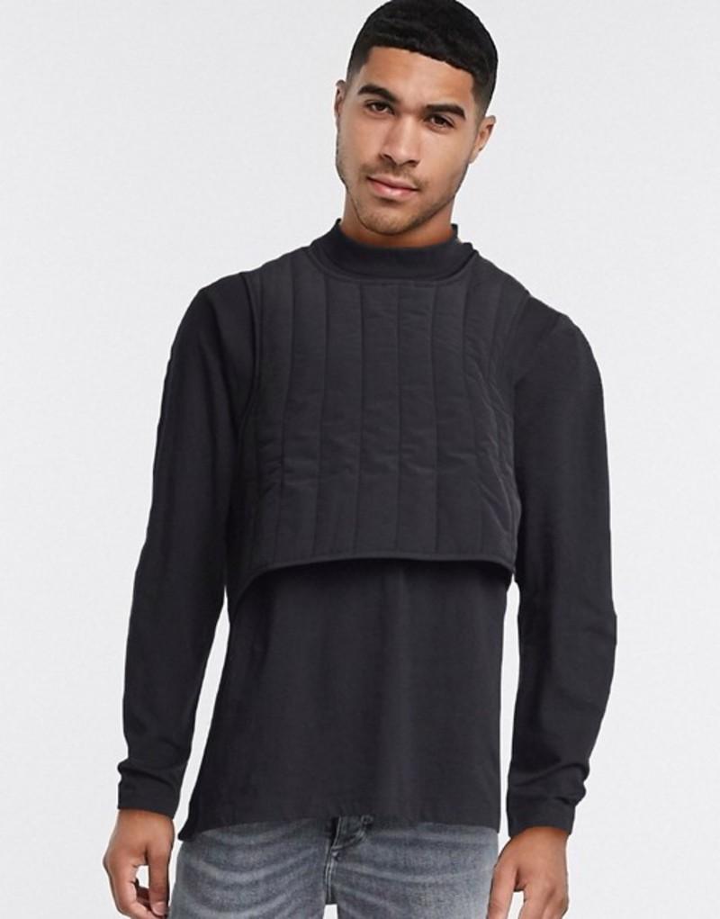 エイソス メンズ シャツ トップス ASOS DESIGN relaxed long sleeve t-shirt with quilted double layer in black Black