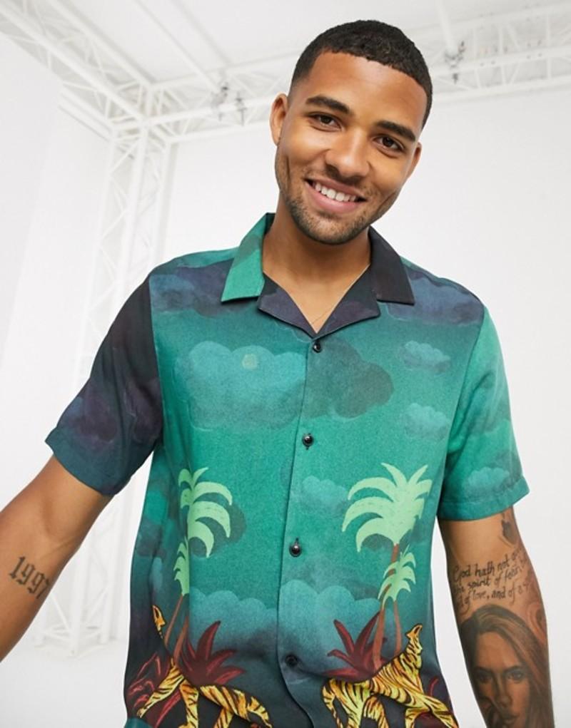 エイソス メンズ シャツ トップス ASOS DESIGN regular revere viscose shirt in palm scenic print Green