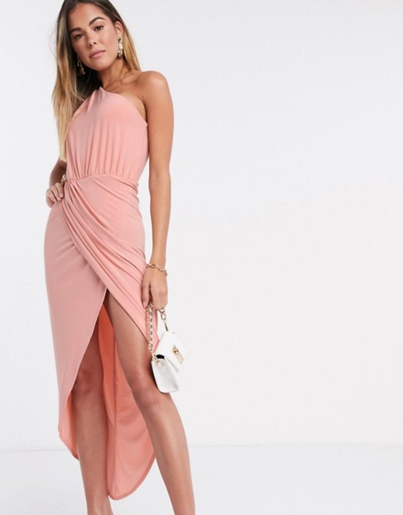 クラブエル ロンドン レディース ワンピース トップス Club L one shoulder rusched midi wrap dress in blush pink Dusty pink
