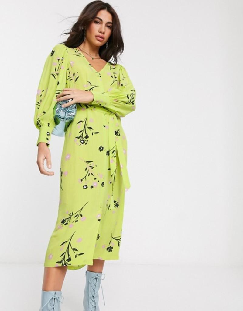 リバーアイランド レディース ワンピース トップス River Island floral tie waist midi dress in green Lime print