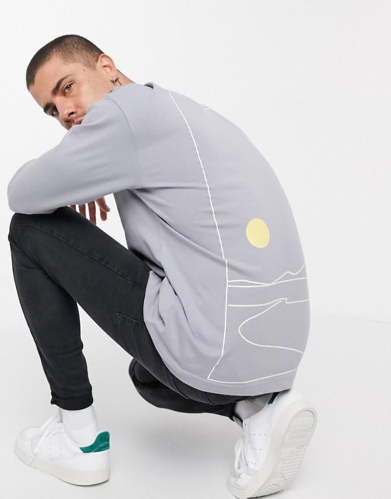 トップマン メンズ シャツ トップス Topman long sleeve t-shirt with cosmic sketch in gray Gray