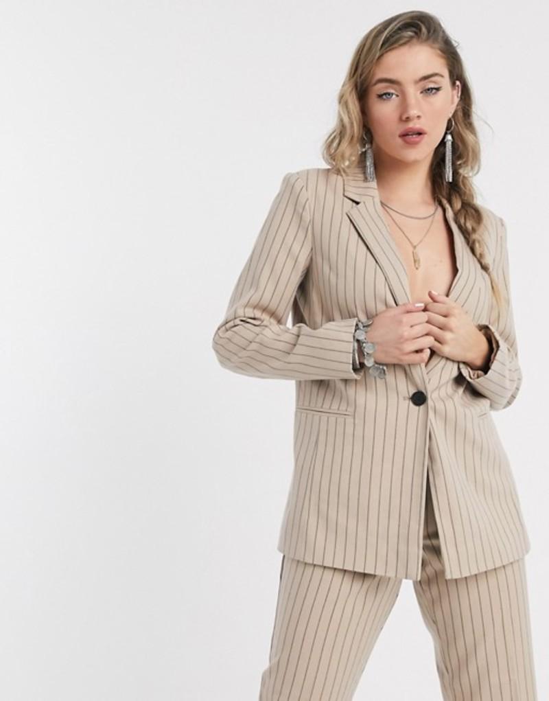 ヴィラ レディース ジャケット・ブルゾン アウター Vila suit jacket in pinstripe Sesame