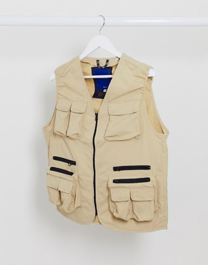 ジャック アンド ジョーンズ メンズ タンクトップ トップス Jack & Jones Originals utility vest in sand Safari