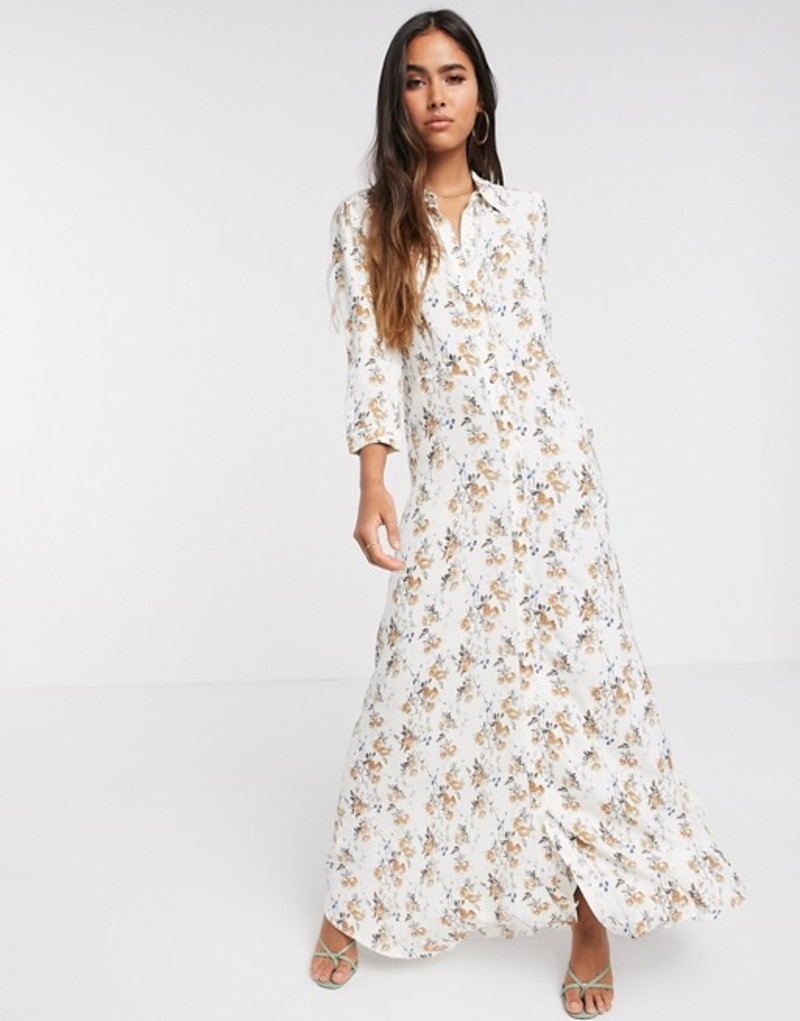 ヴェロモーダ レディース ワンピース トップス Vero Moda maxi shirt dress in white floral White multi