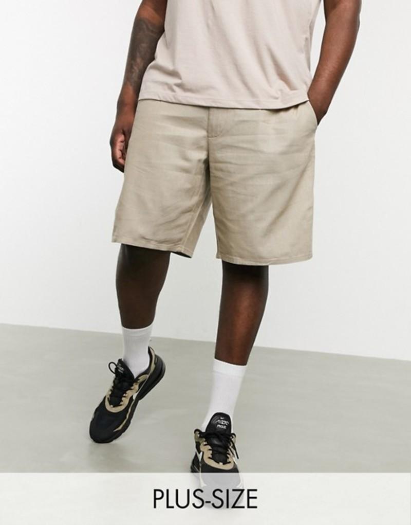 オンリーアンドサンズ メンズ ハーフパンツ・ショーツ ボトムス Only & Sons linen mix shorts in sand Chinchilla