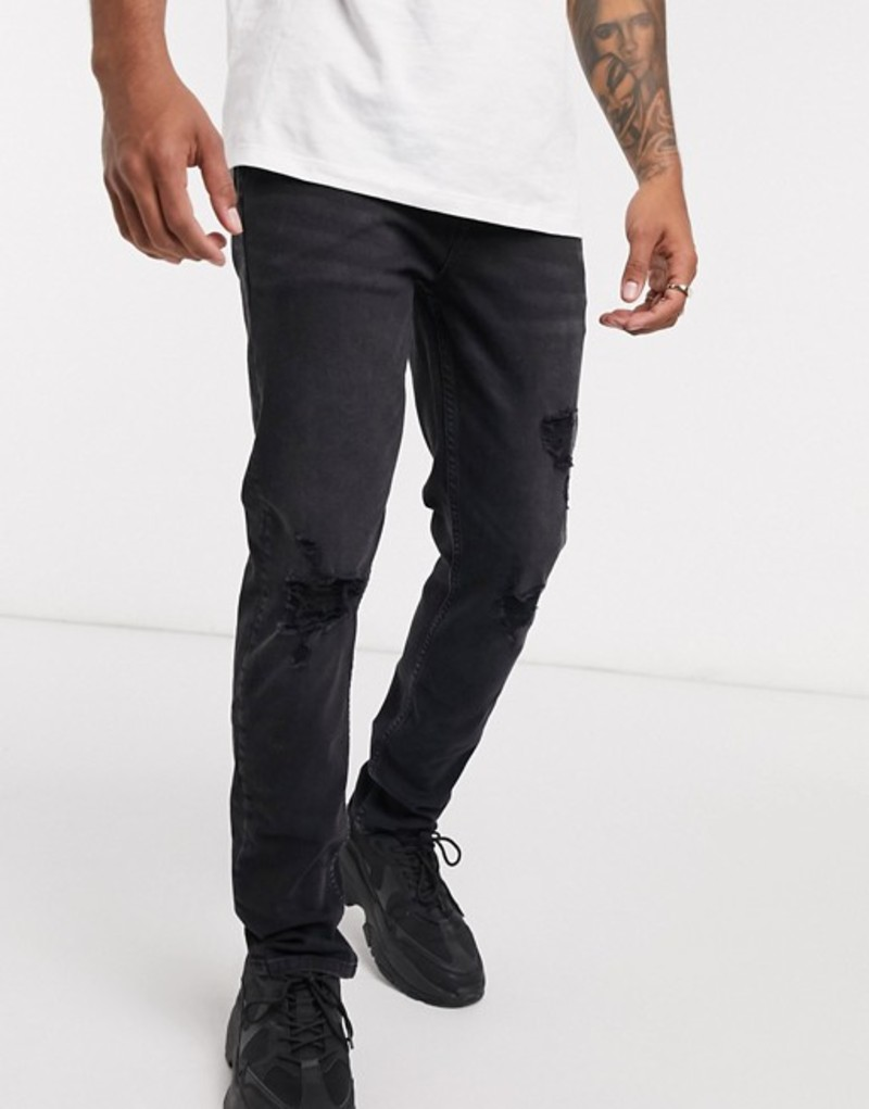 エイソス メンズ デニムパンツ ボトムス ASOS DESIGN skinny jeans in washed black with knee rips Washed black