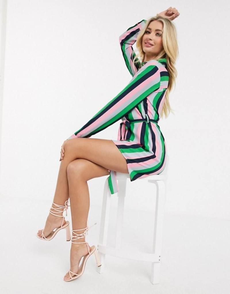 アックスパリ レディース ワンピース トップス AX Paris shirt dress in stripe Multi
