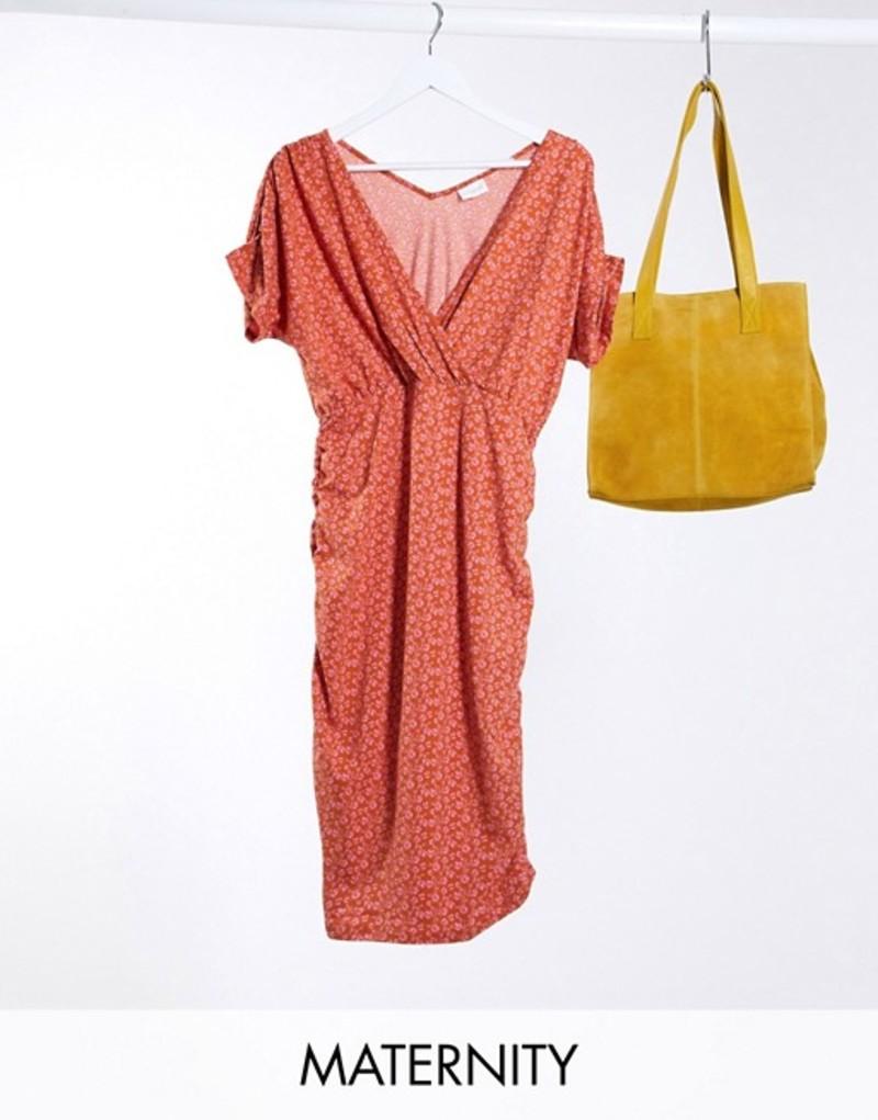 ママライシアス レディース ワンピース トップス Mamalicious Maternity bodycon midi dress with off shoulder in red ditsy floral Multi