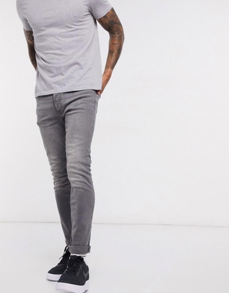 トップマン メンズ デニムパンツ ボトムス Topman skinny jeans in mid gray Gray