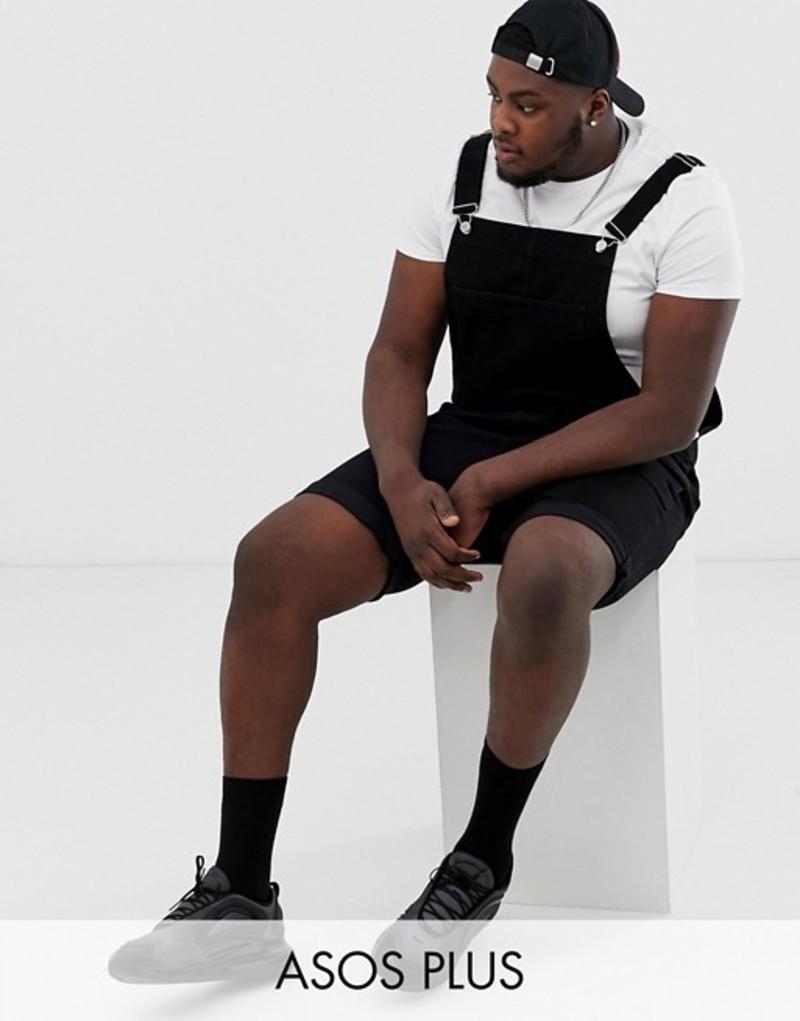 エイソス メンズ カジュアルパンツ ボトムス ASOS DESIGN Plus shorts overall in black Black