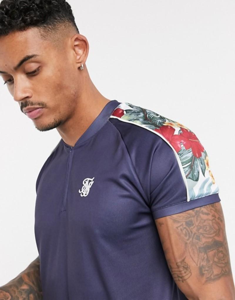 シックシルク メンズ シャツ トップス SikSilk short sleeve baseball jersey in navy with floral print Navy