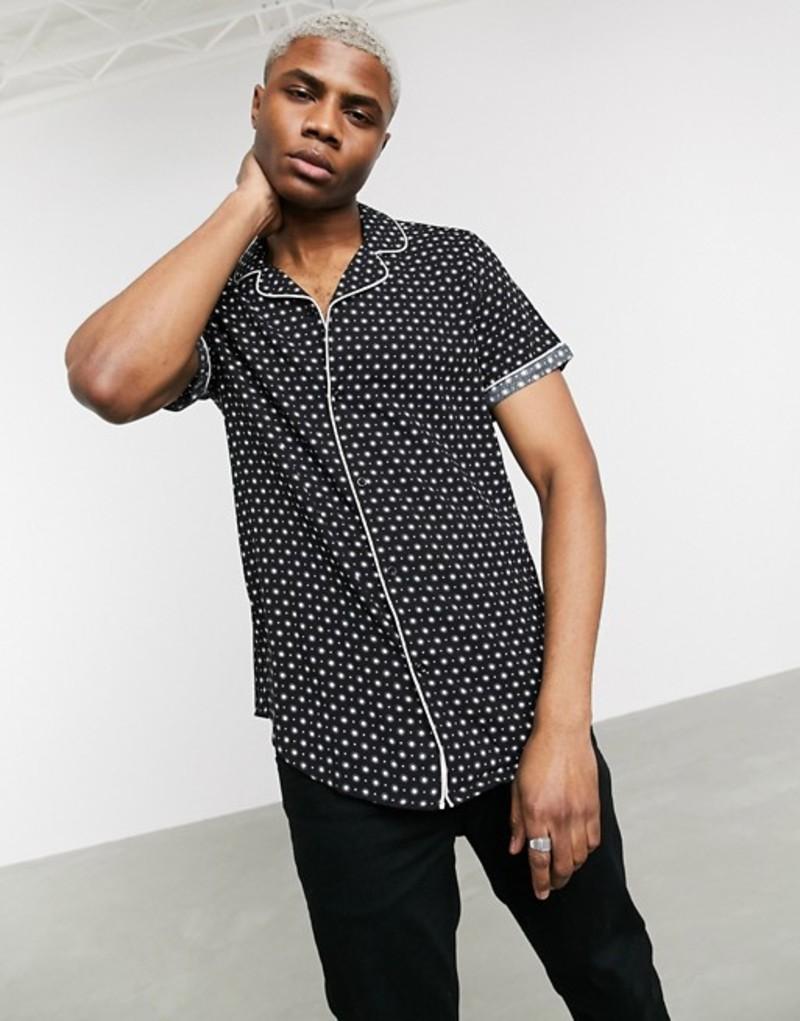 デビルズ アドボケート メンズ シャツ トップス Devils Advocate pyjama dot print short sleeve shirt Black