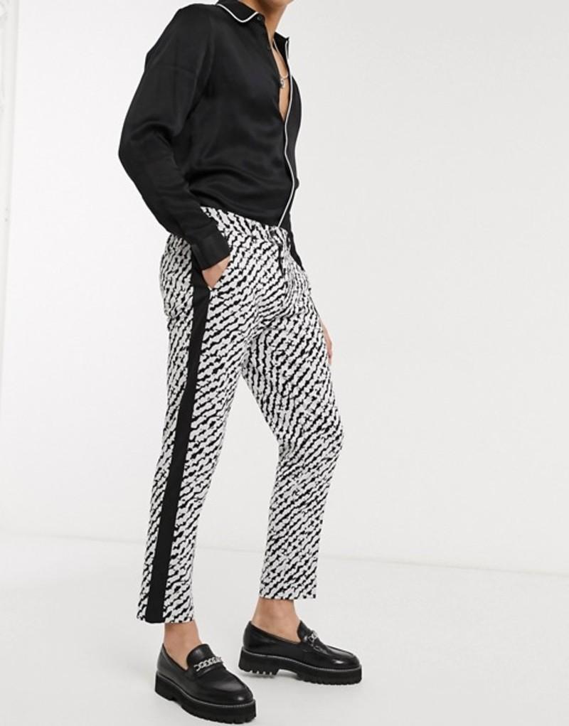デビルズ アドボケート メンズ カジュアルパンツ ボトムス Devils Advocate cropped skinny fit zebra print side stripe pants White