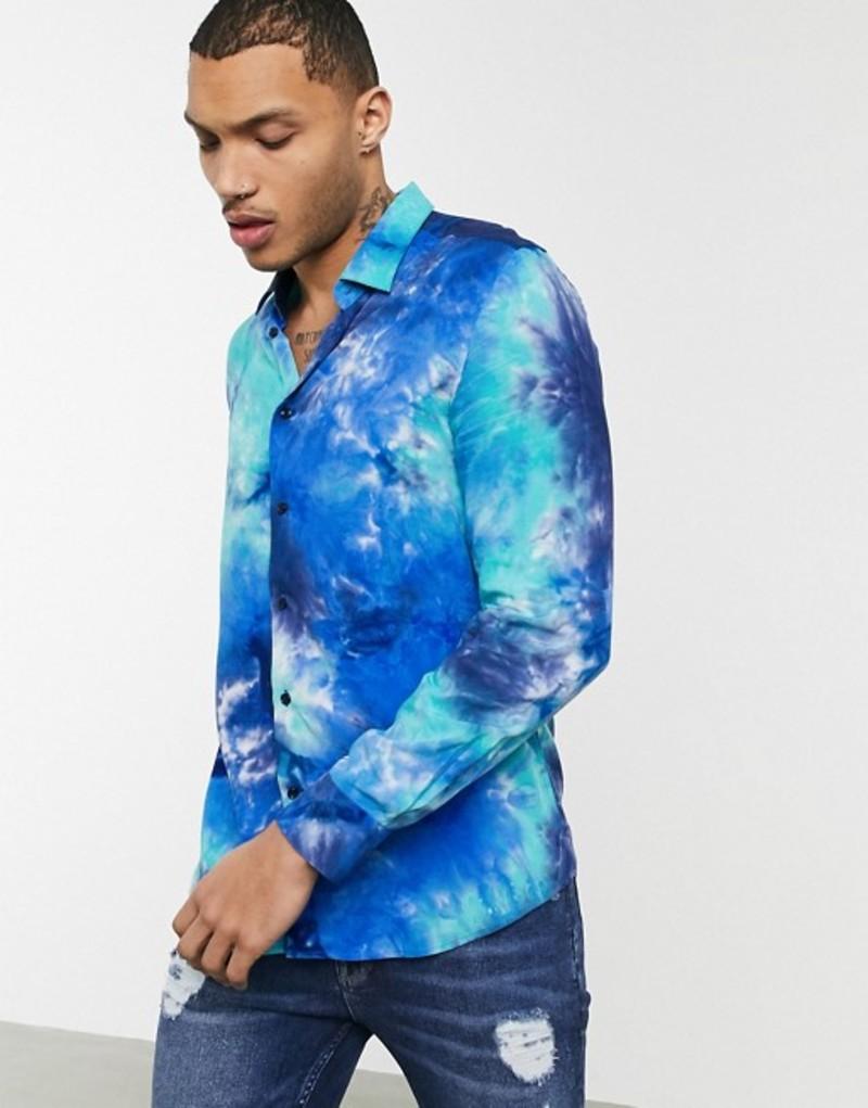 デビルズ アドボケート メンズ シャツ トップス Devils Advocate viscose tie dye printed slim fit shirt Black