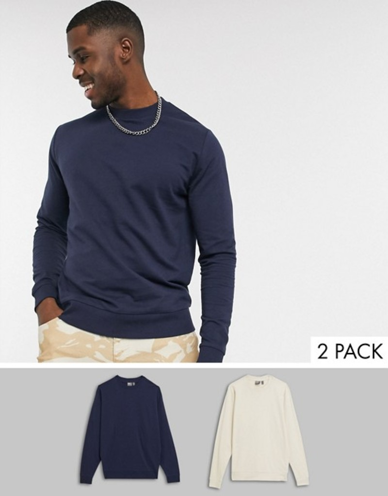 エイソス メンズ シャツ トップス ASOS DESIGN lightweight sweatshirt 2 pack in navy & beige Navy/fog