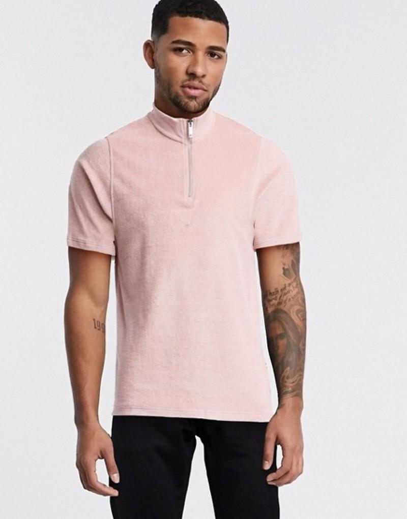 トップマン メンズ シャツ トップス Topman two-piece towelling polo in pink Pink