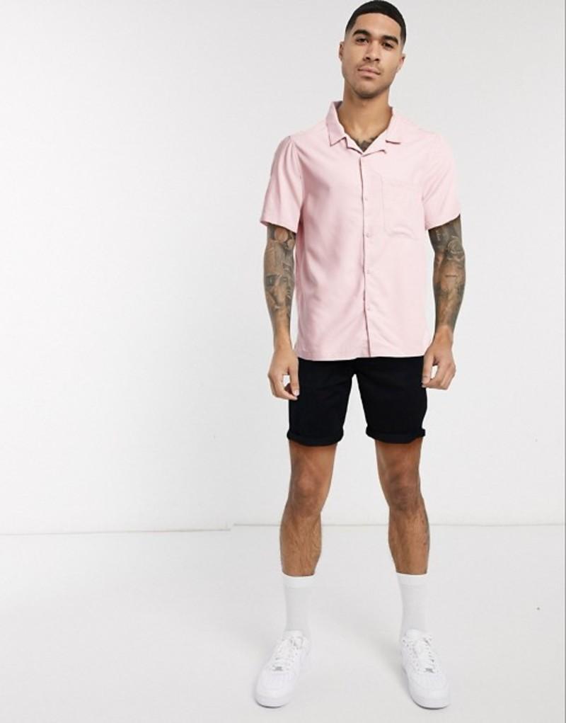 トップマン メンズ シャツ トップス Topman short sleeve revere collar shirt in pink Pink