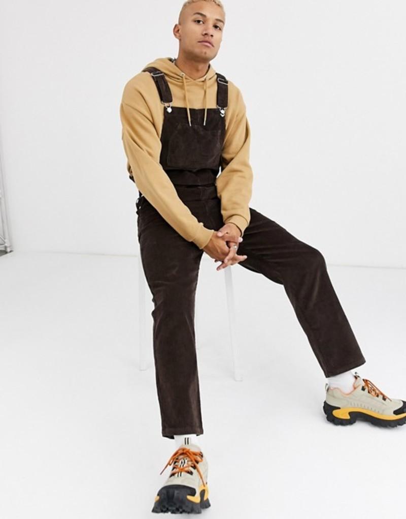 エイソス メンズ カジュアルパンツ ボトムス ASOS DESIGN relaxed overalls in cord in brown Brown