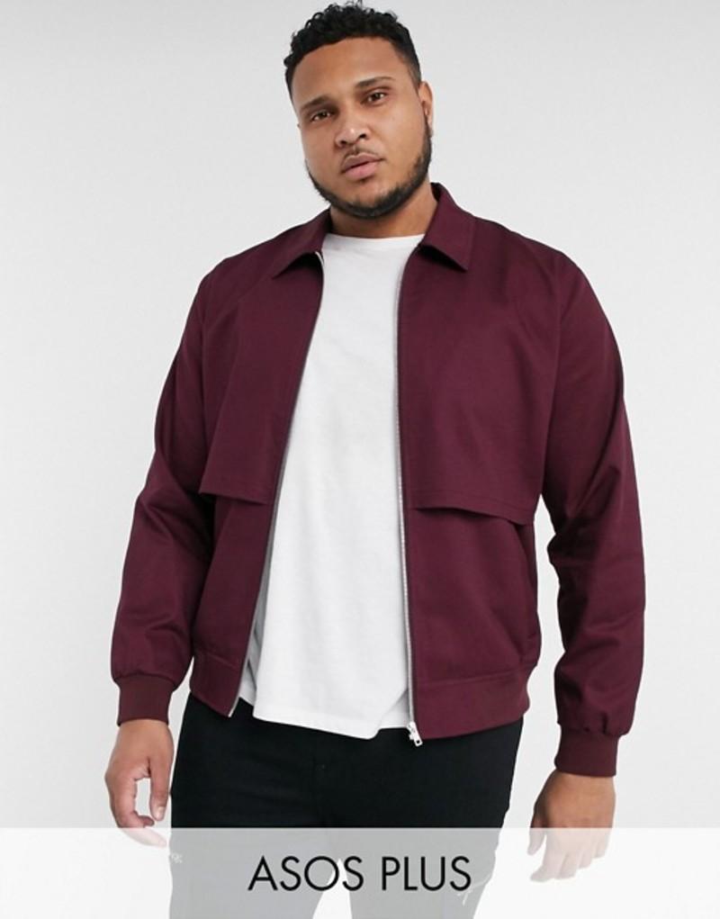 エイソス メンズ ジャケット・ブルゾン アウター ASOS DESIGN Plus harrington jacket with storm vent in burgundy Burgundy
