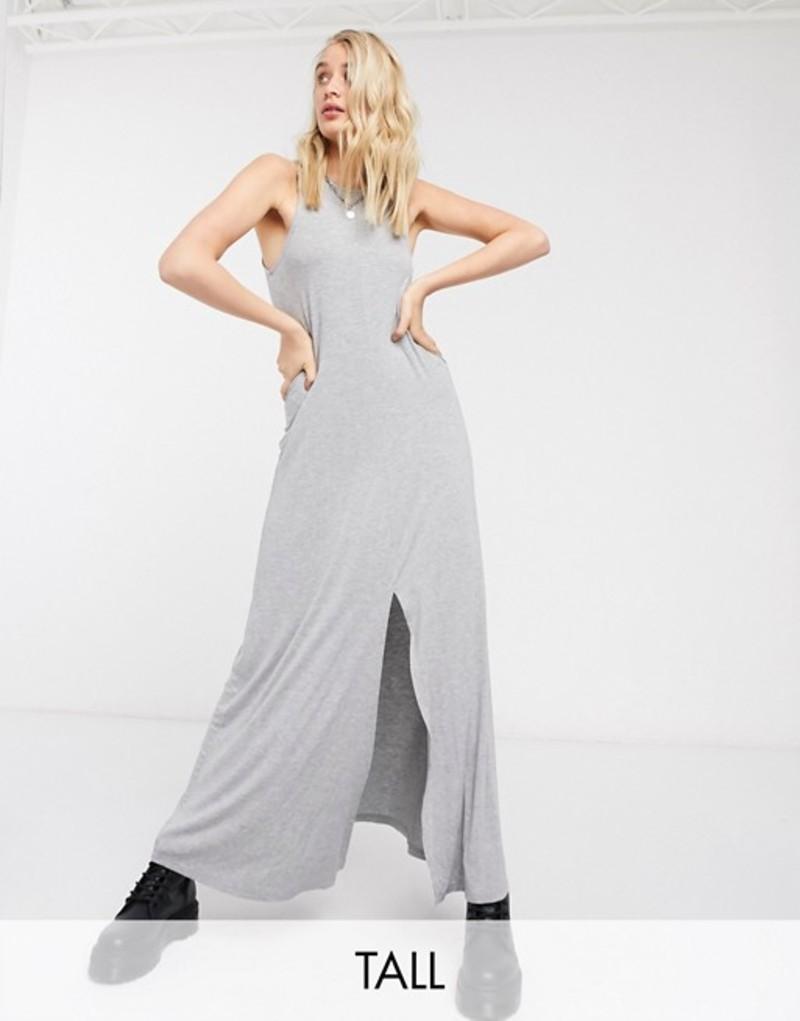 ノイジーメイトール レディース ワンピース トップス Noisy May Tall maxi dress with split front in gray Gray