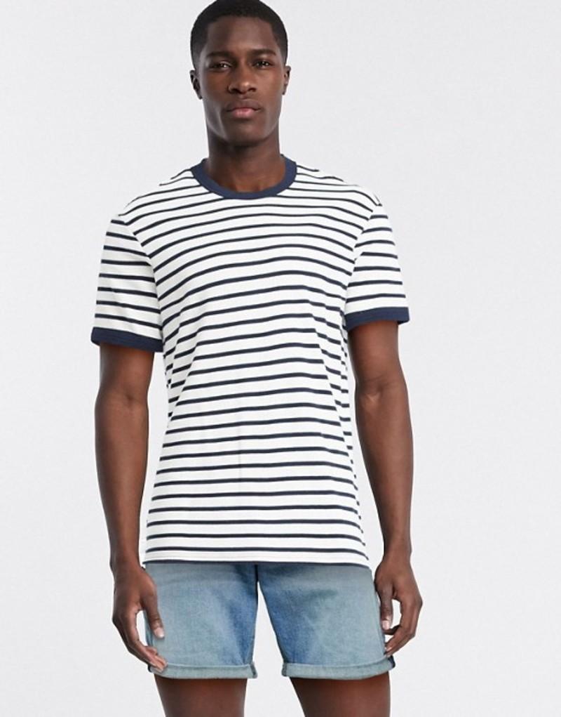 セレクテッドオム メンズ シャツ トップス Selected Homme boxy fit t-shirt in navy and white stripe Sky captain