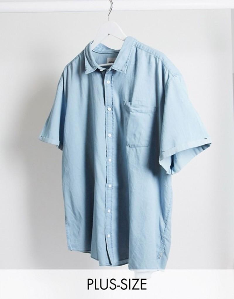 ジャック アンド ジョーンズ メンズ シャツ トップス Jack & Jones Core revere collar short sleeve shirt in denim Medium blue denim
