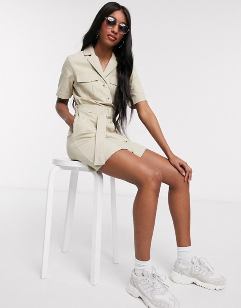 ニュールック レディース ワンピース トップス New Look utility mini dress in stone Stone