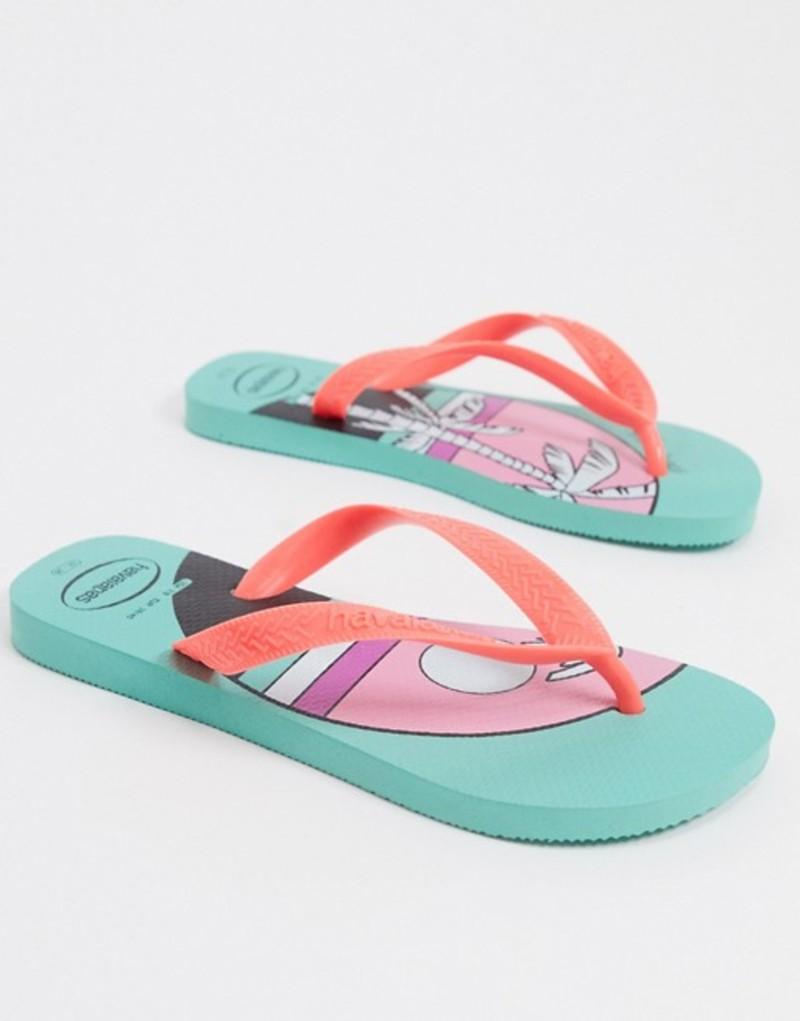 ハワイアナス レディース サンダル シューズ Havaianas slim flip flops in summer print Silk rose