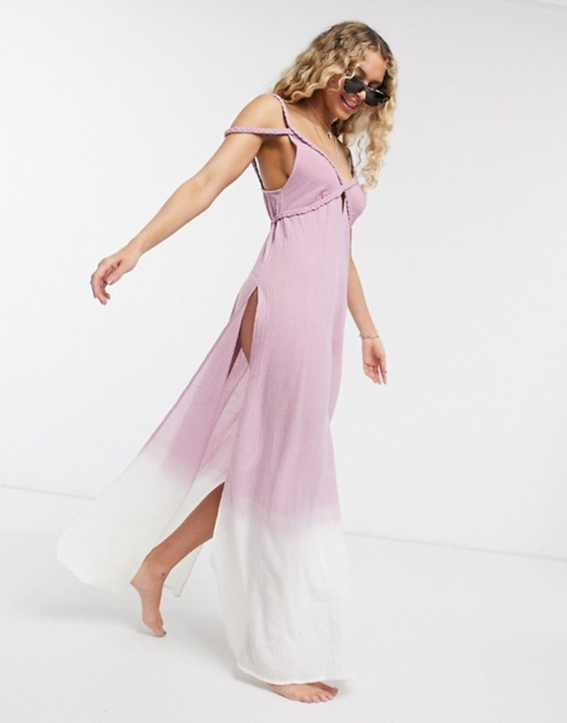 エイソス レディース ワンピース トップス ASOS DESIGN braid maxi beach dress in textured pink ombre Pink ombre