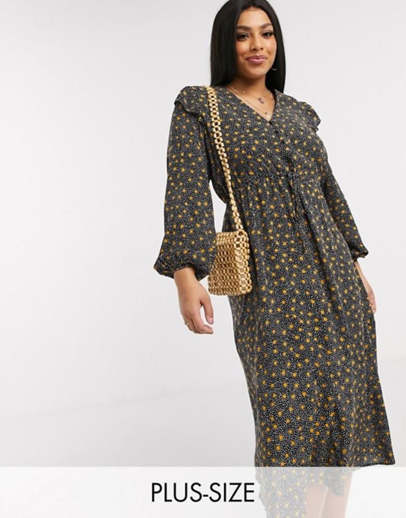 ニュールック レディース ワンピース トップス New Look Curve frill edge midi dress in black spot Black pattern