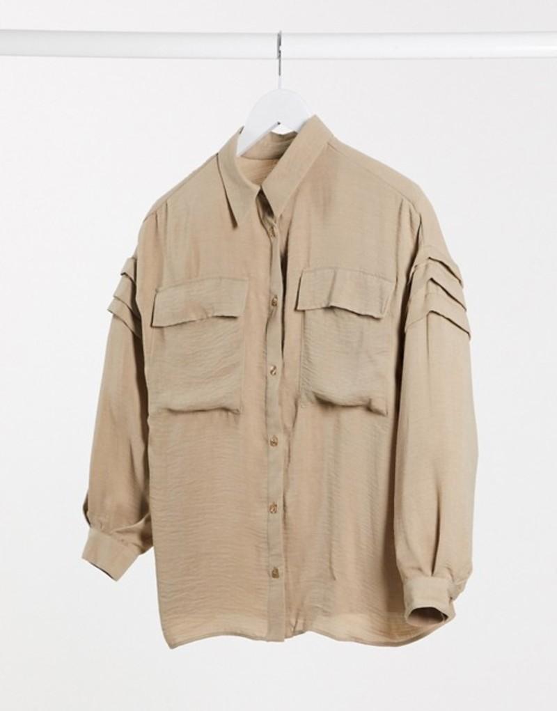 エイソス レディース シャツ トップス ASOS DESIGN shirt with pleat sleeve detail in stone Stone