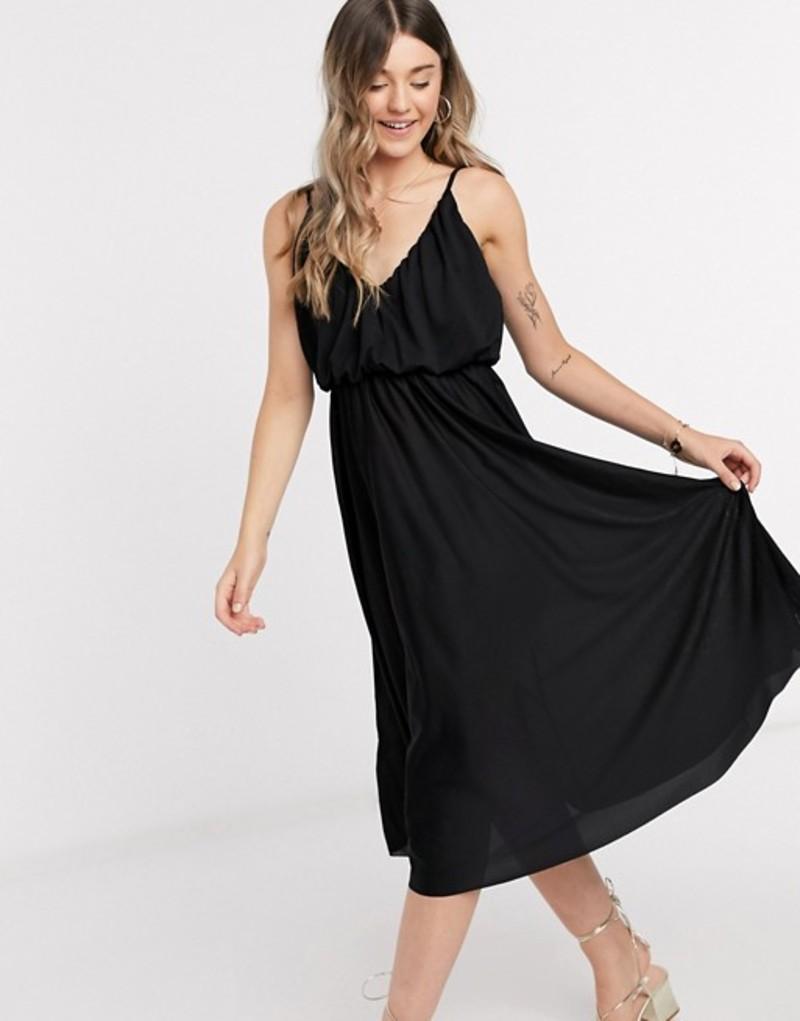 エイソス レディース ワンピース トップス ASOS DESIGN cami plunge midi dress with blouson top in black Black