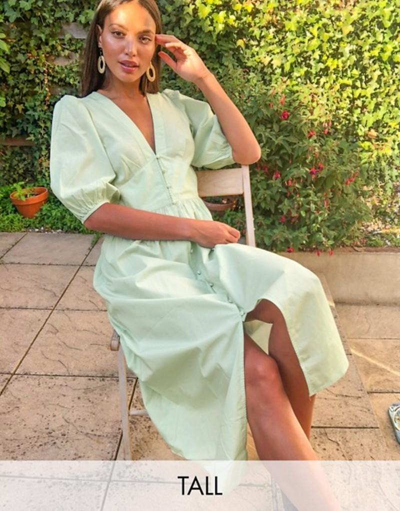 ベロモーダ レディース ワンピース トップス Vero Moda Tall midi dress with puff sleeves in light green Green