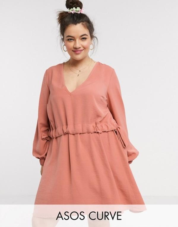 エイソス レディース ワンピース トップス ASOS DESIGN Curve v neck ruched waist chuck on mini dress with long sleeves in rust Light rust