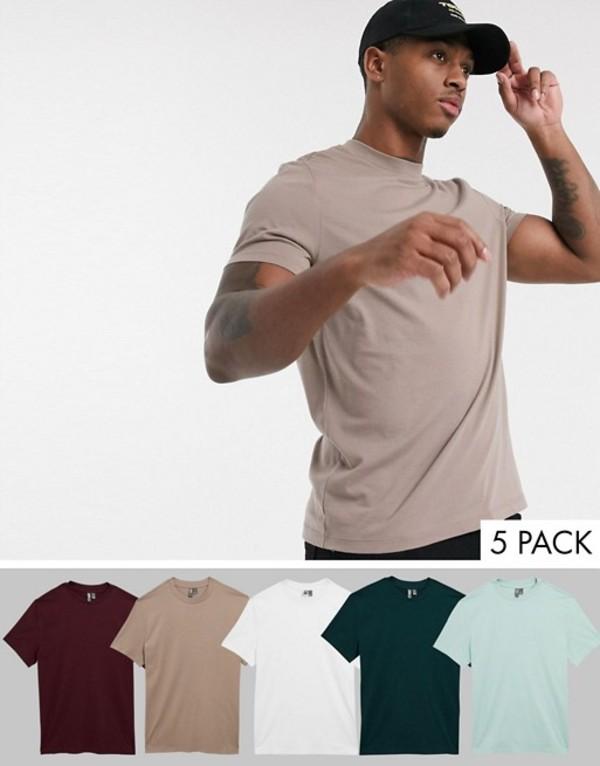 エイソス メンズ シャツ トップス ASOS DESIGN 5 pack organic t-shirt with crew neck save Wh/hm/tg/sc/pr