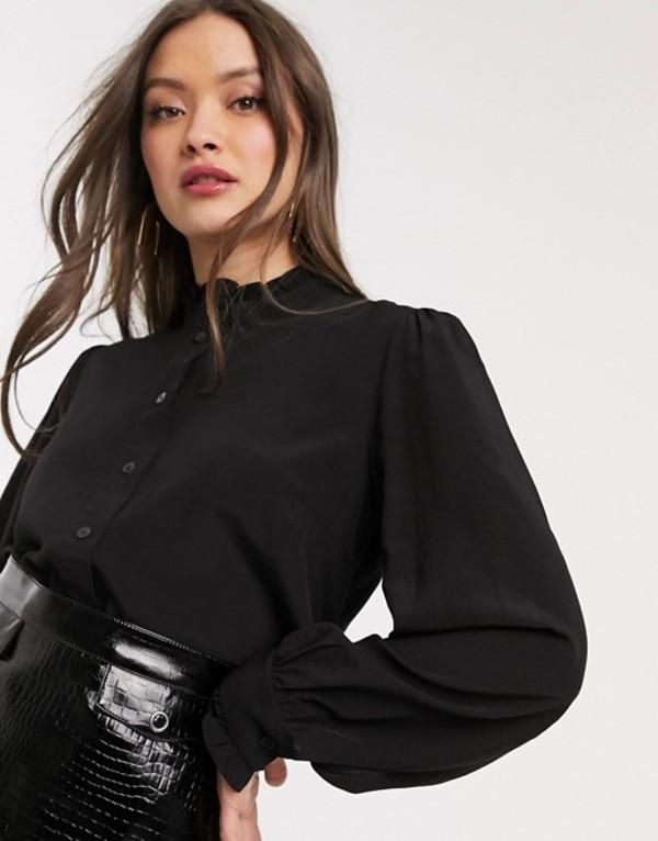 ウエアハウス レディース シャツ トップス Warehouse shirt with ruffle neck in black Black