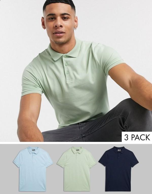 エイソス メンズ シャツ トップス ASOS DESIGN 3 pack organic muscle fit jersey polo save Nvy/cbl/lg