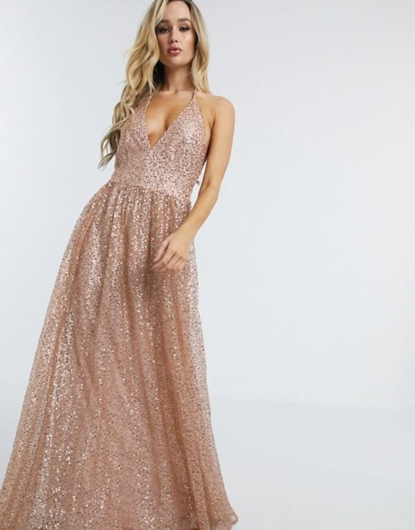 ゴッドディバ レディース ワンピース トップス Goddiva plunge glitter cami maxi dress in metallic blush Blush