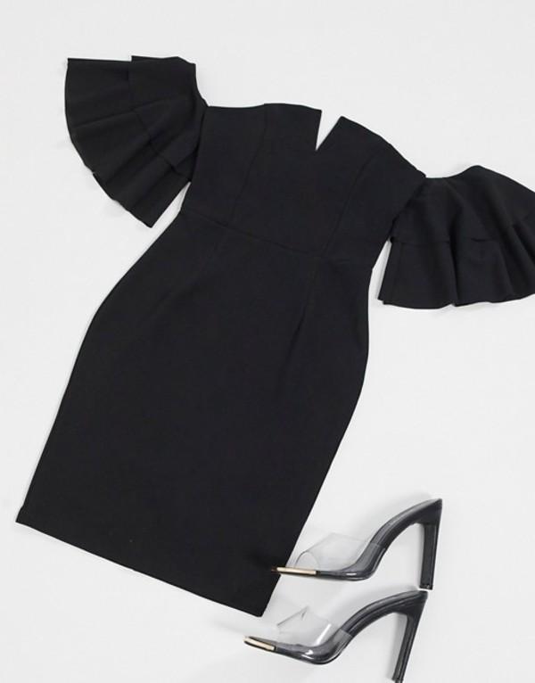 アックスパリ レディース ワンピース トップス AX Paris off the shoulder mini dress in black Black