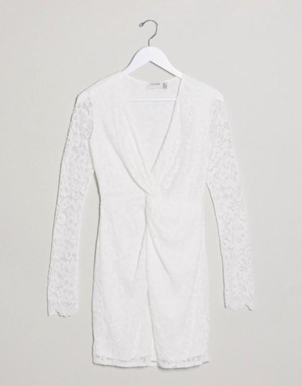フラウンスロンドン レディース ワンピース トップス Flounce London lace mini dress with twist front in white White