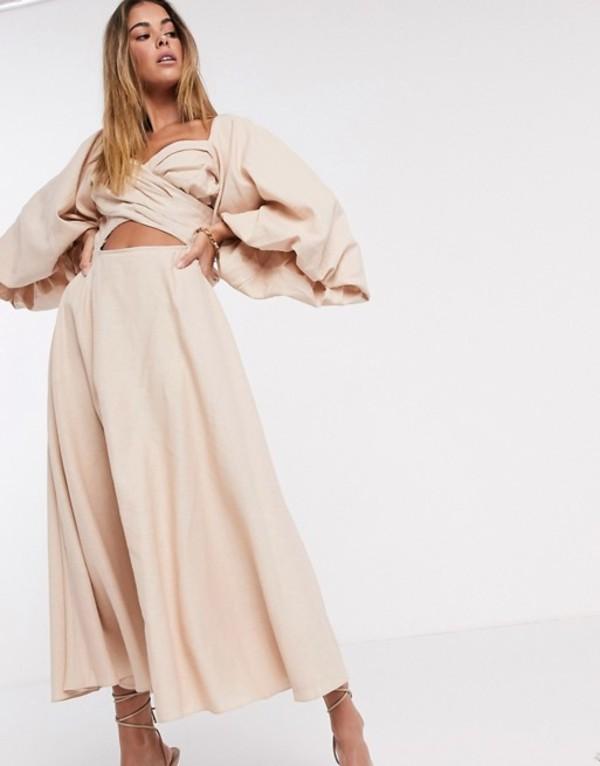 エイソス レディース ワンピース トップス ASOS EDITION extreme sleeve linen midi dress Neutral