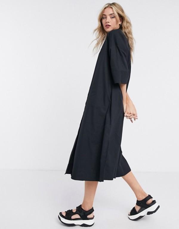 セレクティッド レディース ワンピース トップス Selected Femme shirt dress with pleated back in black Black