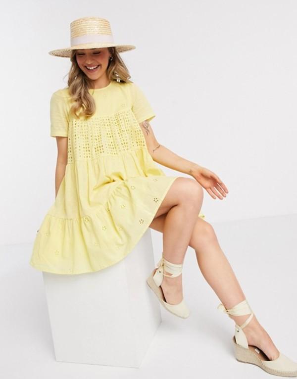 エイソス レディース ワンピース トップス ASOS DESIGN mixed broderie mini smock dress in yellow Lemon yellow