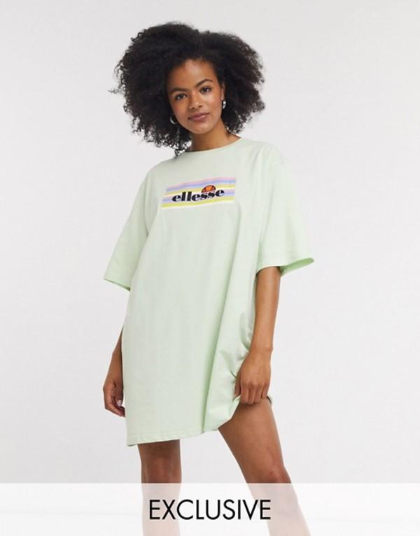 エレッセ レディース ワンピース トップス Ellesse oversized t-shirt dress with pastel rainbow box logo Mint