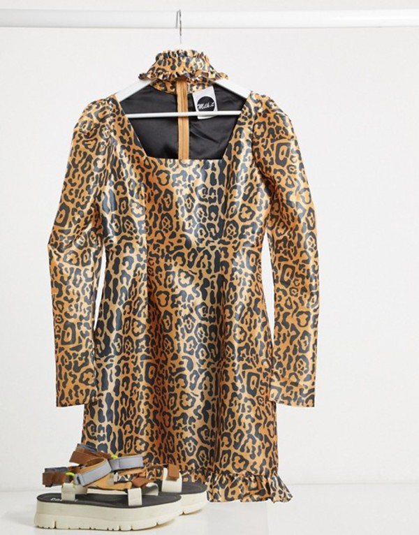 ザラグドプリースト レディース ワンピース トップス Milk It Vintage puff sleeve leopard dress with cut out detail Leopard print